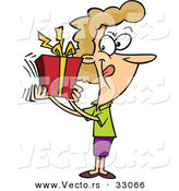 Cartoon Vector of a Happy Woman Shaking Present by Toonaday