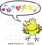 August 23rd, 2017: Cartoon Vector of a Happy Yellow Chicken a Word Balloon by Zooco