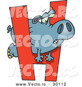 August 30th, 2017: Cartoon Vector of a Hippo Trying to Squeeze Through Alphabet Letter 'H' by Toonaday