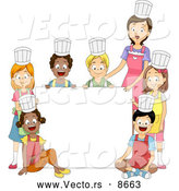 Cartoon Vector of a Home Economics Cooking Class and Teacher Around a Blank Sign by BNP Design Studio