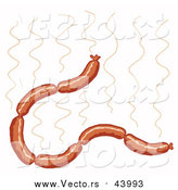 Cartoon Vector of a Hot Sausage Links Strand by LaffToon
