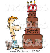 Cartoon Vector of a Hungry Guy Drooling over a 100 Birthday Cake by Toonaday