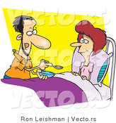 Cartoon Vector of a Husband Spoon Feeding His Sick Wife by Toonaday