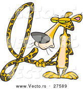 Cartoon Vector of a Jaguar Forming the Alphabet Letter 'J' with His Long Tail by Toonaday