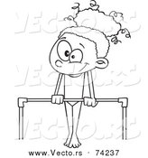Cartoon Vector of a Lineart Gymnast Girl on a Horizontal Bar by Toonaday
