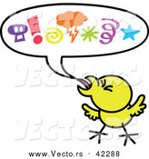 Cartoon Vector of a Mad Yellow Chicken Displaying Aggressive Behavior with a Word Balloon by Zooco