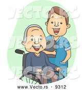 Cartoon Vector of a Male Geriatric Nurse Laughing with a Senior Patient by BNP Design Studio
