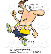 Cartoon Vector of a Male Runner Ahead of the Crowd by Toonaday