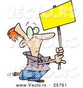 Cartoon Vector of a Man Advertising with a Blank Sign by Toonaday