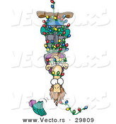 Cartoon Vector of a Man Hanging Upside down in Tangled Christmas Lights by Toonaday