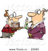 Cartoon Vector of a Man Holding a Briefcase Open for His Boss As He Lights a Cigar with Cash by Toonaday