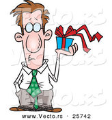 Cartoon Vector of a Man Holding a Present by Toonaday
