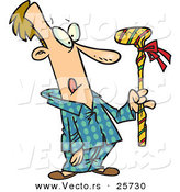 Cartoon Vector of a Man Holding Wrapped Golf Club Christmas Present by Toonaday