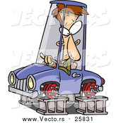 Cartoon Vector of a Man in a Tireless Car on Blocks by Toonaday