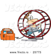 Cartoon Vector of a Man Running in a Wheel to Power a Generator by Toonaday
