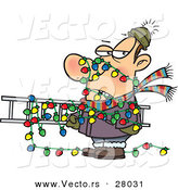 Cartoon Vector of a Man Tangled in Outdoor Christmas Lights While Carrying a Ladder by Toonaday