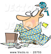 Cartoon Vector of a Man Tangled in Wrapping Paper Beside a Box by Toonaday