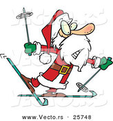 Cartoon Vector of a Nervous Santa Trying to Snow Ski by Toonaday