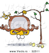 Cartoon Vector of a Partridge Hanging in a Pear Tree by Toonaday