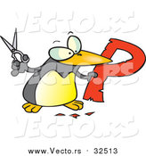 Cartoon Vector of a Penguin Cutting out the Alphabet Letter 'P' by Toonaday