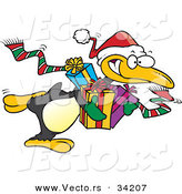 Cartoon Vector of a Penguin Santa Delivering Christmas Presents by Toonaday