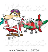 Cartoon Vector of a Pilot Santa Beside an Airplane by Toonaday