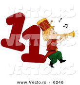 Cartoon Vector of a Piper Piping Beside a Red Number Eleven for Christmas by BNP Design Studio