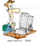 Cartoon Vector of a Pleased Business Man at a Computer by Toonaday