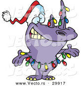 Cartoon Vector of a Purple Rhino Decorated with Christmas Lights and a Santa Hat by Toonaday