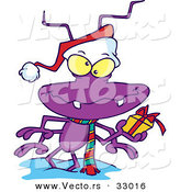 Cartoon Vector of a Purple Santa Bug Holding a Present by Toonaday