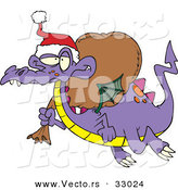 Cartoon Vector of a Purple Santa Dragon Flying with Bag of Presents by Toonaday
