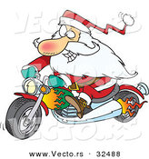 Cartoon Vector of a Rebel Biker Santa Riding Motorcycle with Flames by Toonaday