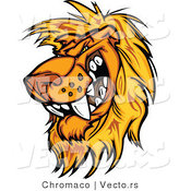 Cartoon Vector of a Rival Male Lion Mascot Preparing to Attack by Chromaco