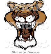 Cartoon Vector of a Roaring Mountain Lion Mascot by Chromaco