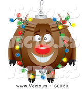 Cartoon Vector of a Rudolph Ornament with Christmas Lights by Toonaday