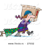 Cartoon Vector of a Sad Woman Carrying Dragging Christmas Tree in the Snow and Carrying an Opened Box on Her Shoulder by Toonaday