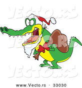 Cartoon Vector of a Santa Alligator Delivering Christmas Presents by Toonaday