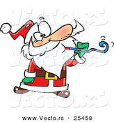 Cartoon Vector of a Santa at a Party, Blowing a Noise Maker Blower by Toonaday