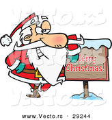 Cartoon Vector of a Santa Beside Merry Christmas Sign by Toonaday