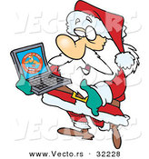 Cartoon Vector of a Santa Carrying a Laptop Computer by Toonaday