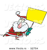 Cartoon Vector of a Santa Carrying Blank Sign by Toonaday