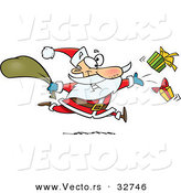 Cartoon Vector of a Santa Distributing Presents While Running Fast by Toonaday