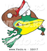 Cartoon Vector of a Santa Frog Hopping with Bag of Presents by Ron Leishman