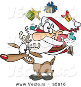 Cartoon Vector of a Santa Juggling Christmas Presents on a Reindeer by Toonaday