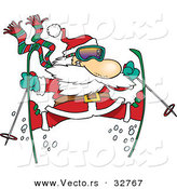 Cartoon Vector of a Santa Jumping on Snow Skis by Toonaday