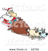 Cartoon Vector of a Santa Mushing Presents on Sled with Dogs Pulling by Toonaday