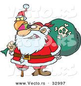 Cartoon Vector of a Santa Pirate with Peg Leg, Bag of Presents, and a Parrot by Toonaday