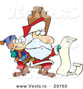 Cartoon Vector of a Santa Reading Happy Boy's Long Christmas List by Toonaday