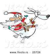 Cartoon Vector of a Santa Riding Albino Kangaroo with Presents by Ron Leishman