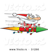 Cartoon Vector of a Santa Riding Super Fast Rocket by Toonaday